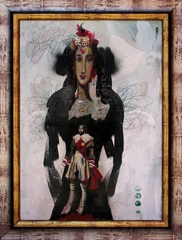 Milan VAVRO, Akademický maliar - Roxana (2008), Technika: kombinácia techník, Rozmery: 70x50 cm