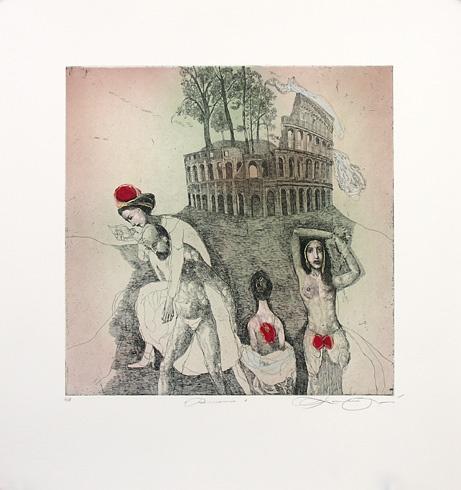 Katarína VAVROVÁ, Akademická maliarka - Rimania, Technika: Ručne kolorovaný lept, Rozmery: 29,8x29,6 cm
