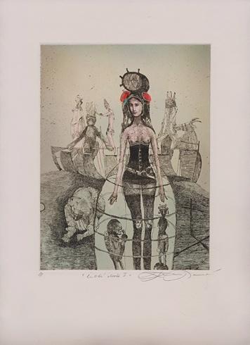 Katarína VAVROVÁ, Akademická maliarka - Čisté duše, Technika: Ručne kolorovaný lept, Rozmery: 19,5x14,5 cm