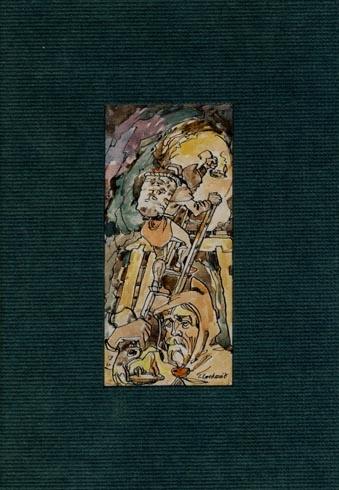 Igor LACKOVIČ - Starí haviari (2008), Technika: kolorovaná perokresba, Rozmery: 14,5x7 cm
