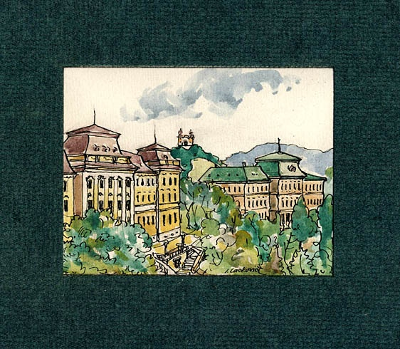 Igor LACKOVIČ - Budovy akadémie  (2008), Technika: kolorovaná perokresba, Rozmery: 12x9 cm
