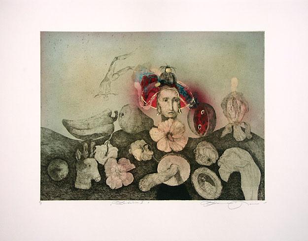 Katarína VAVROVÁ, Akademická maliarka - Zátišie (2008), Technika: Ručne kolorovaný lept, Rozmery: 30x39,5 cm