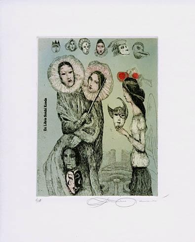 Katarína VAVROVÁ, Akademická maliarka - Ex libris Soichi Koeda (2008), Technika: Ručne kolorovaný lept, Rozmery: 13x10 cm