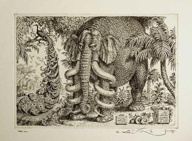 Peter KĽÚČIK, Ak. maliar - Slon a páv (2005), Technika: lept, Rozmery: 16x22,5 cm