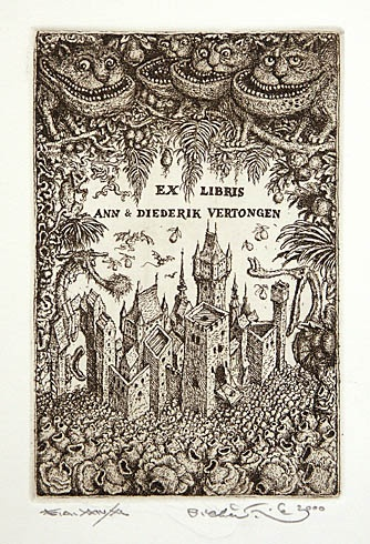 Peter KĽÚČIK, Ak. maliar - Ex Libris Vertongen (1995), Technika: lept, Rozmery: 14,5x9,5 cm