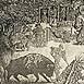 Autor: Peter KĽÚČIK, Ak. maliar, Názov diela: Tauromachia II, Technika: lept, Motív: ostatné nezaradené, Rozmery: 29,5x43,5 cm, Rok: 1986