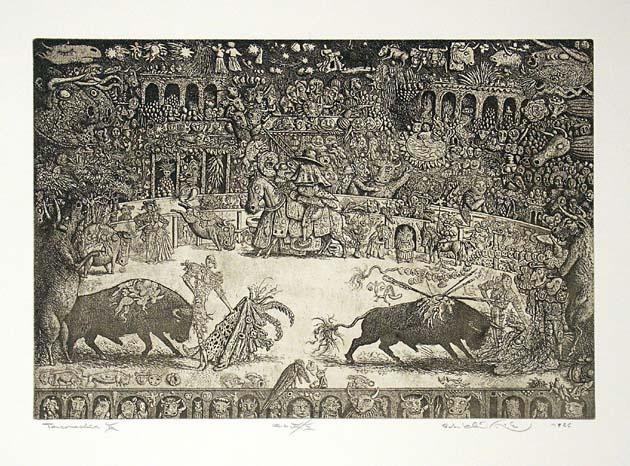 Peter KĽÚČIK, Ak. maliar - Tauromachia II (1986), Technika: lept, Rozmery: 29,5x43,5 cm