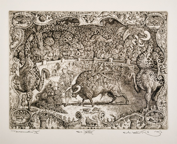 Peter KĽÚČIK, Ak. maliar - Tauromachia V (1993), Technika: lept, Rozmery: 24,5x32,5 cm