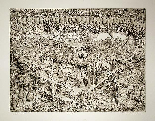 Peter KĽÚČIK, Ak. maliar - Daidalos a Ikaros (1989), Technika: lept, Rozmery: 49,5x65