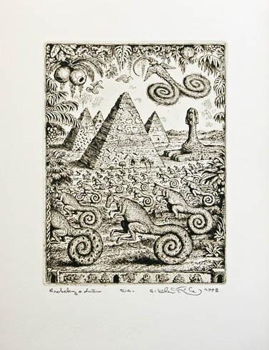 Peter KĽÚČIK, Ak. maliar - Preteky o dušu (1998), Technika: lept, Rozmery: 19x14,5 cm
