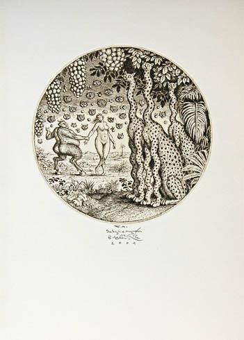 Peter KĽÚČIK, Ak. maliar - Satyr a Nymfa (2001), Technika: lept, Rozmery: 15,5 cm priemer