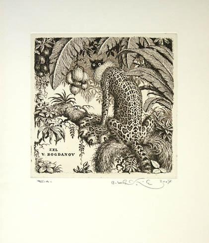 Peter KĽÚČIK, Ak. maliar - Ex Libris Bogdanov (2007), Technika: lept, Rozmery: 14,5x15 cm
