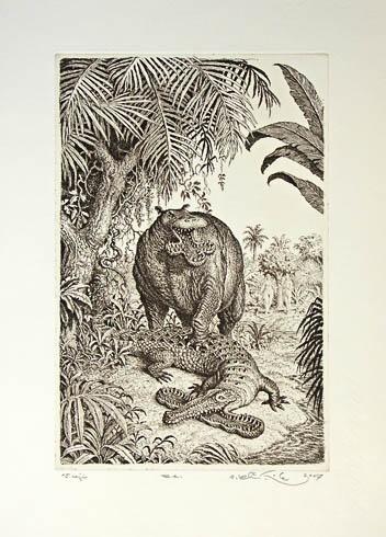 Peter KĽÚČIK, Ak. maliar - V raji (2007), Technika: lept, Rozmery: 29,5x19,5 cm