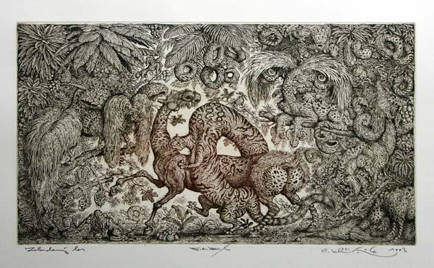Peter KĽÚČIK, Ak. maliar - Zobudený les (1993), Technika: lept, Rozmery: 21x36,3 cm