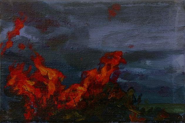 Mgr. Art Katarína BALÁŽOVÁ - Na prechádzke III (2008), Technika: akryl, Rozmery: 20x30 cm