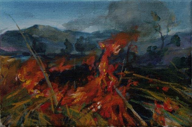 Mgr. Art Katarína BALÁŽOVÁ - Na prechádzke I (2008), Technika: akryl, Rozmery: 20x30 cm