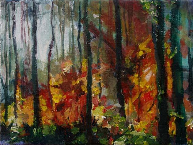 Mgr. Art Katarína BALÁŽOVÁ - Prechádzka lesom II (2008), Technika: akryl, Rozmery: 30x40 cm