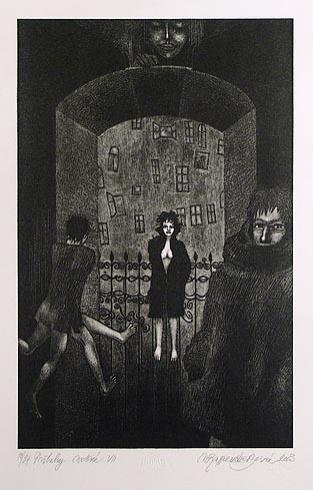 Naďa RAPPENSBER- GEROVÁ - JANKOVIČOVÁ, Ak. maliar - Príbehy nočné VII (2003), Technika: litografia nerám, Rozmery: 30,5x19,5 cm