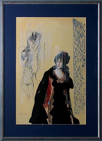 Milan VAVRO, Akademický maliar - Sny o vášni a láske (2007), Technika: Kombinácia techník , Rozmery: 64x44 cm