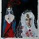Autor: Milan VAVRO, Akademický maliar, Názov diela: Svadobný deň, Technika: Kombinácia techník na japonskom papieri, Motív: figurálne, akty, Rozmery: 65x49 cm, Rok: 2007