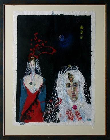 Milan VAVRO, Akademický maliar - Svadobný deň (2007), Technika: Kombinácia techník na japonskom papieri, Rozmery: 65x49 cm