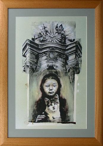 Braňo JÁNOŠ - Nočný život v Banskej Štiavnici (2016), Technika: Serigrafia + mix, Rozmery: 60x40 cm