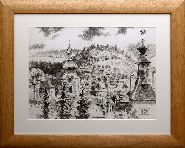 Braňo JÁNOŠ - Banská Štiavnica - nad Klopačkou (2008), Technika: Serigrafia + mix, Rozmery: 30x40 cm