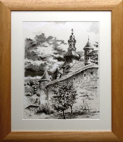Braňo JÁNOŠ - Banská Štiavnica - pod Starým zámkom (2008), Technique: Serigrafia + mix, Size: 40x30 cm