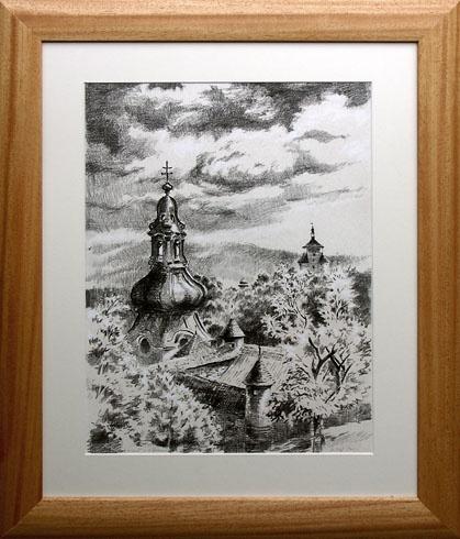 Braňo JÁNOŠ - Banská Štiavnica - jeseň v Banskej Štiavnici (2008), Technika: Serigrafia + mix, Rozmery: 40x30 cm