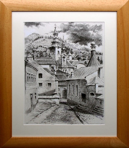 Braňo JÁNOŠ - Banská Štiavnica - jesenné veže (2008), Technika: Serigrafia + mix, Rozmery: 40x30 cm