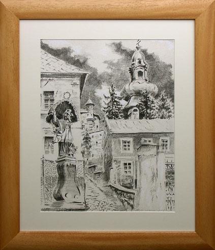 Braňo JÁNOŠ - Banská Štiavnica - Ján Nepomuk (2008), Technique: Serigrafia + mix, Size: 40x30 cm