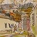 Autor: Jozef KAMINSKÝ, Názov diela: Banská Štiavnica, Technika: kolorovaná perokresba, Motív: krajina, architektúra, Rozmery: 12x18 cm, Rok: 2008