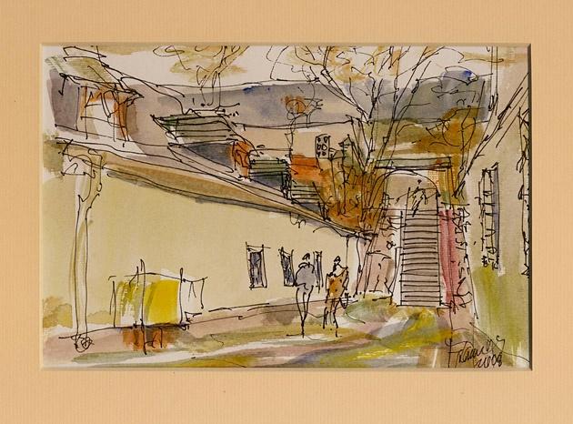 Jozef KAMINSKÝ - Banská Štiavnica (2008), Technika: kolorovaná perokresba, Rozmery: 12x18 cm