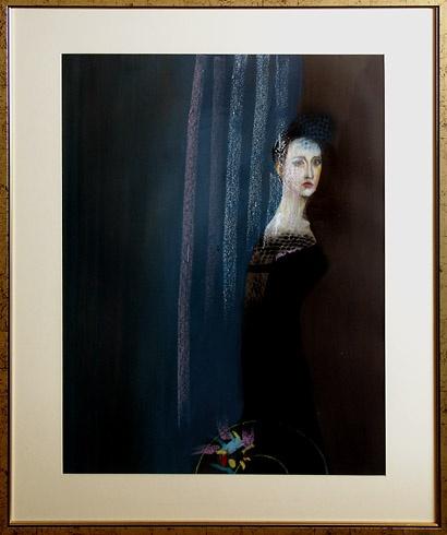 Milan VAVRO, Akademický maliar - Modrý závoj (2007), Technika: Kombinácia techník , Rozmery: 70x50 cm