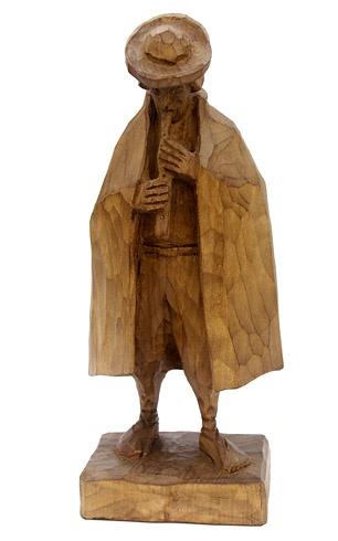 Jozef ŠÍMA - Píšťalkár (2009), Technika: drevorezba, Rozmery: 29 cm