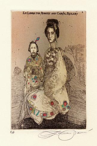 Katarína VAVROVÁ, Akademická maliarka - Ex Libris for Robert and Carol Reilert, Technika: kolorovaný lept, Rozmery: 12,5x8 cm