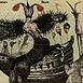 Autor: Katarína VAVROVÁ, Akademická maliarka, Názov diela: Ex Libris Boris Kvasnica - Objavenie Ameriky, Technika: kolorovaný lept, Motív: figurálne, akty, Rozmery: 9x12 cm, Rok: 0