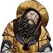 Autor: Viera  ŠMIDÁKOVÁ, Názov diela: Svätý Ján Almužník, Technika: Polychromovaná epoxidová kópia, Motív: figurálne, akty, Rozmery: 34x35 cm, Rok: 0