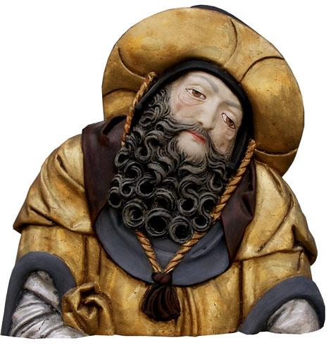 Viera  ŠMIDÁKOVÁ - Svätý Ján Almužník, Technika: Polychromovaná epoxidová kópia, Rozmery: 34x35 cm