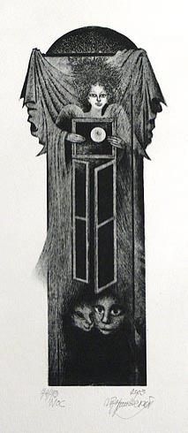Naďa RAPPENSBER- GEROVÁ - JANKOVIČOVÁ, Ak. maliar - Noc (2003), Technika: litografia nerám, Rozmery: 23x10 cm