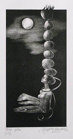 Naďa RAPPENSBER- GEROVÁ - JANKOVIČOVÁ, Ak. maliar - Letný spln (2003), Technika: litografia, Rozmery: 24x11,5 cm