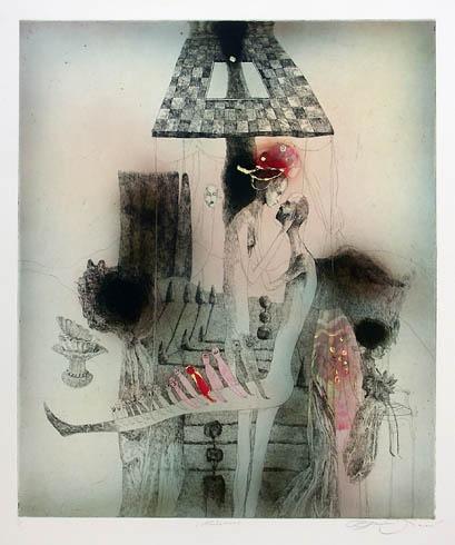 Katarína VAVROVÁ, Akademická maliarka - Lúčenie (2009), Technika: kolorovaný lept, Rozmery: 60x50 cm