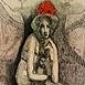 Autor: Katarína VAVROVÁ, Akademická maliarka, Názov diela: Zajačik, Technika: kolorovaný lept, Motív: figurálne, akty, Rozmery: 15x10 cm, Rok: 2009