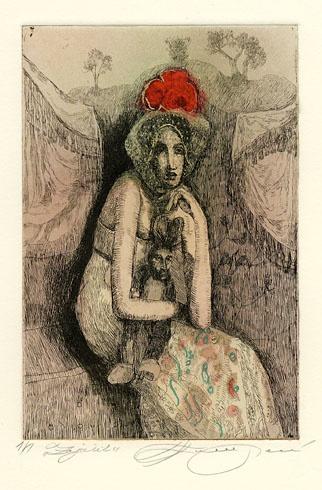 Katarína VAVROVÁ, Akademická maliarka - Zajačik (2009), Technika: kolorovaný lept, Rozmery: 15x10 cm