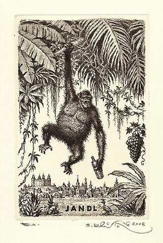 Peter KĽÚČIK, Ak. maliar - Ex Libris JANDL (2008), Technique: lept, Size: 15x9,5 cm