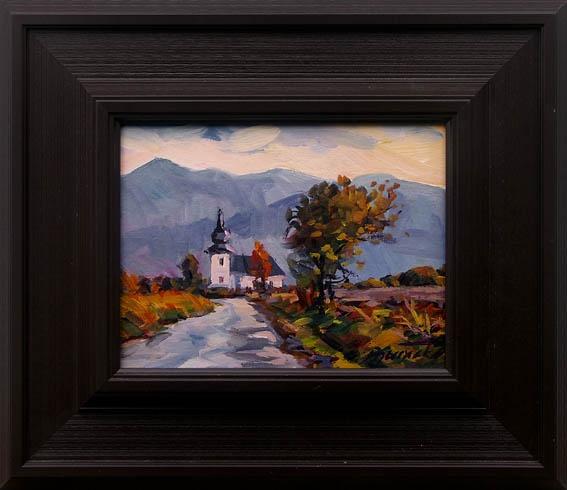 Martin DJURAČKA - Jeseň na Pohroní (2009), Technika: kombinácia techník, Rozmery: 17x22 cm