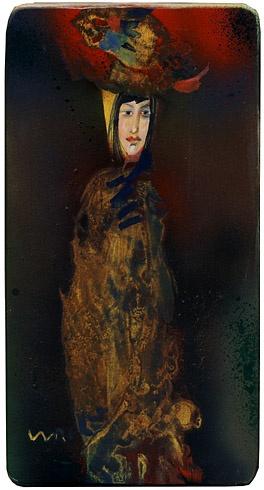 Milan VAVRO, Akademický maliar - Dáma v klobúku (2010), Technika: olej na dreve, Rozmery: 26x14 cm