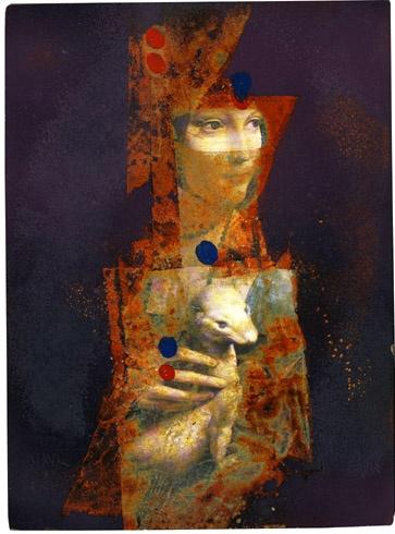 Milan VAVRO, Akademický maliar - Dáma s hranostajom - premaľba (2010), Technika: premaľba na dreve, Rozmery: 28,5x21 cm