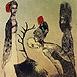 Autor: Katarína VAVROVÁ, Akademická maliarka, Názov diela: Blúdenie duše, Technika: Ručne kolorovaný lept, Motív: figurálne, akty, Rozmery: 15x10 cm, Rok: 2010