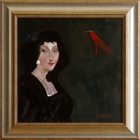 Milan VAVRO, Akademický maliar - Šťastná (2009), Technika: olejomaľba, Rozmery: 40x40 cm
